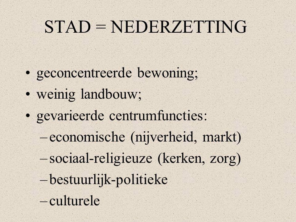 STAD = NEDERZETTING geconcentreerde bewoning; weinig landbouw; gevarieerde centrumfuncties: –economische (nijverheid, markt) –sociaal-religieuze (kerk