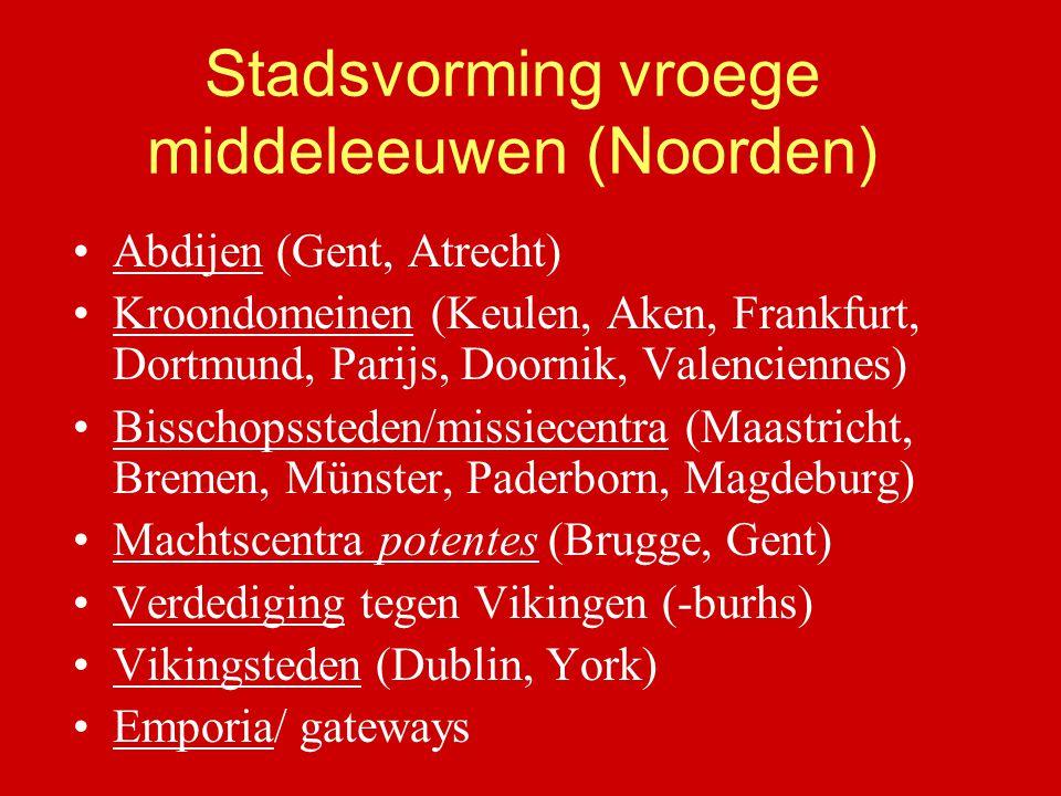 Stadsvorming vroege middeleeuwen (Noorden) Abdijen (Gent, Atrecht) Kroondomeinen (Keulen, Aken, Frankfurt, Dortmund, Parijs, Doornik, Valenciennes) Bi