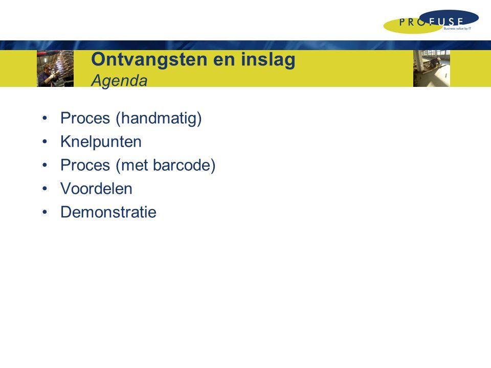 Ontvangsten en inslag Agenda Proces (handmatig) Knelpunten Proces (met barcode) Voordelen Demonstratie
