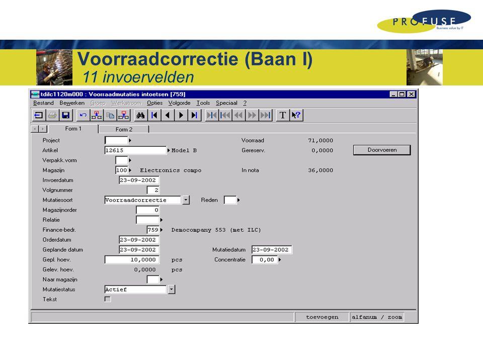 Voorraadcorrectie (Baan I) 11 invoervelden