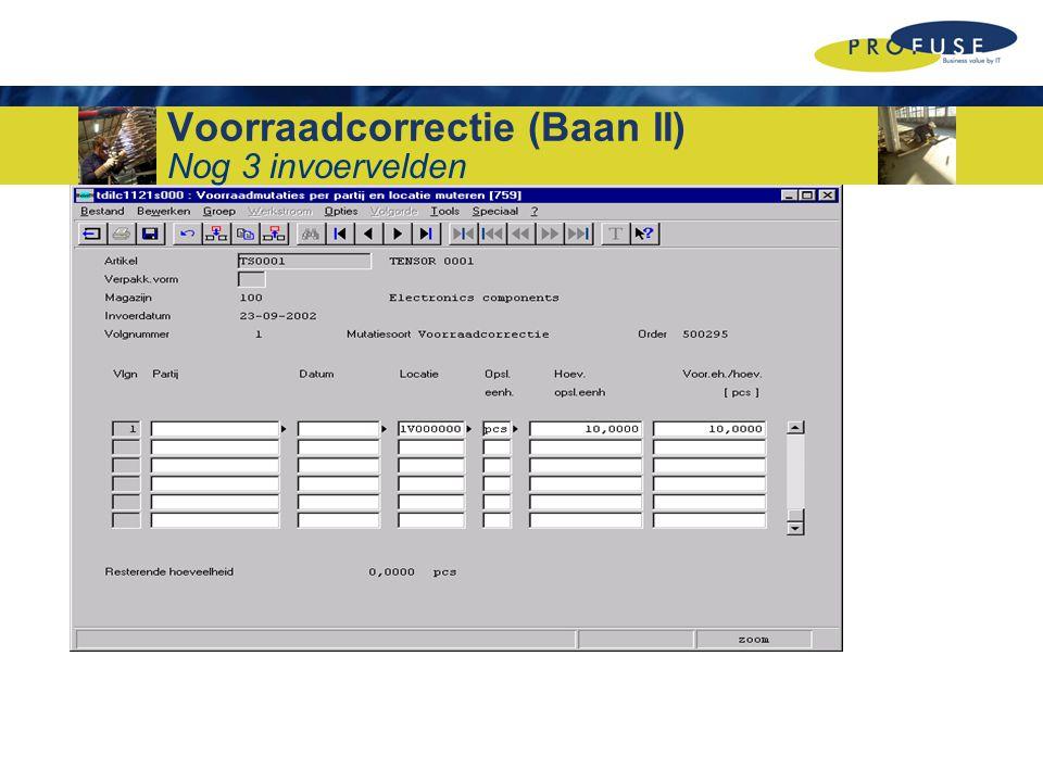 Voorraadcorrectie (Baan II) Nog 3 invoervelden