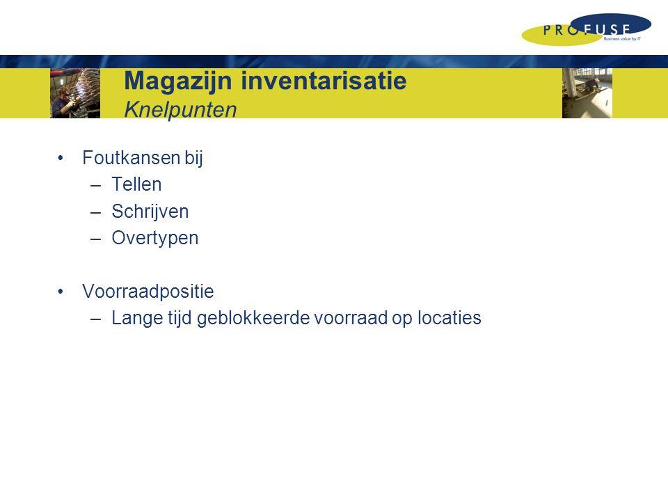 Magazijn inventarisatie Knelpunten Foutkansen bij –Tellen –Schrijven –Overtypen Voorraadpositie –Lange tijd geblokkeerde voorraad op locaties