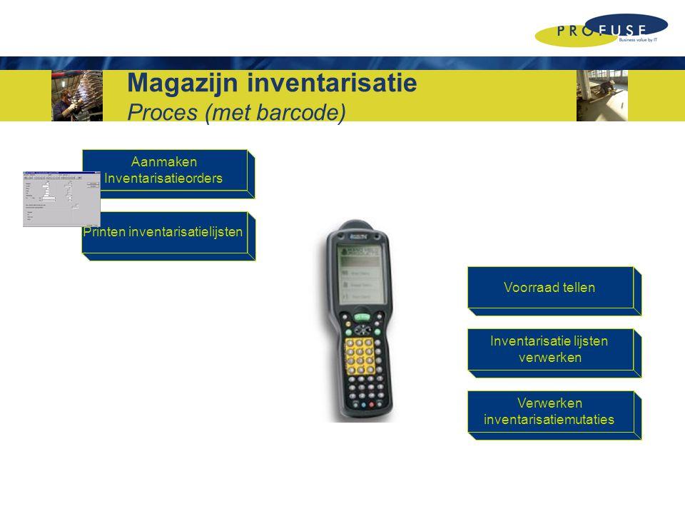 Aanmaken Inventarisatieorders Printen inventarisatielijsten Voorraad tellen Inventarisatie lijsten verwerken Verwerken inventarisatiemutaties Magazijn inventarisatie Proces (met barcode)