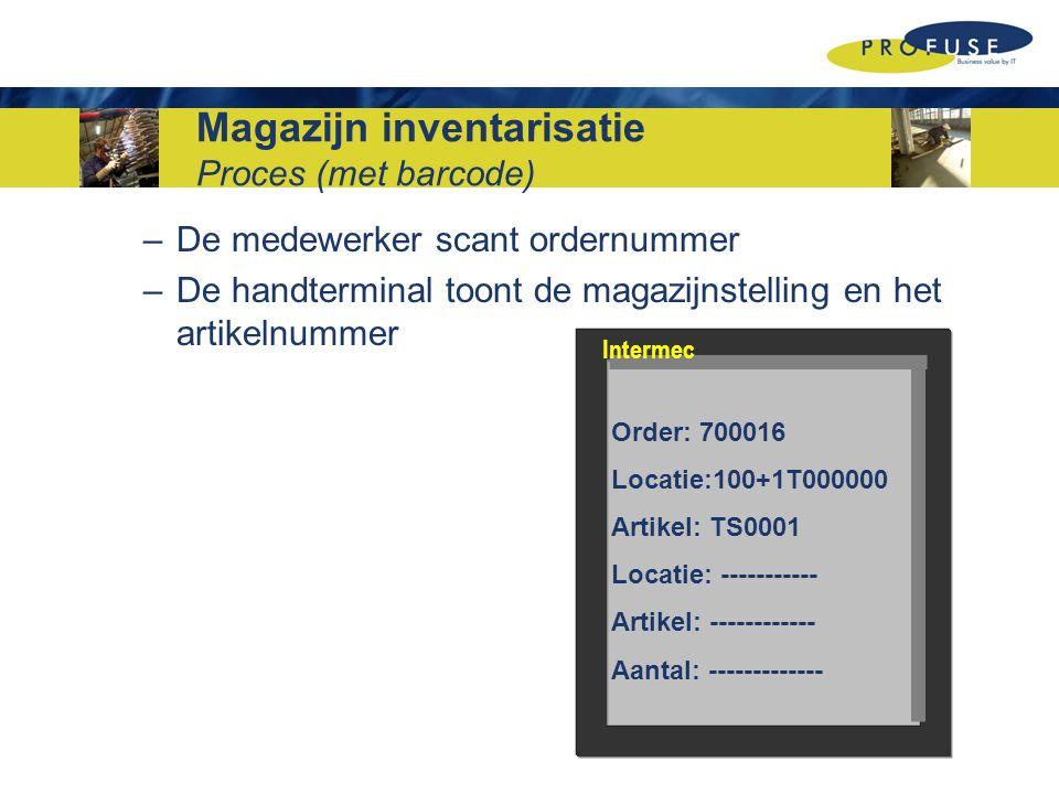 –De medewerker scant ordernummer –De handterminal toont de magazijnstelling en het artikelnummer Order: 700016 Locatie:100+1T000000 Artikel: TS0001 Locatie: ----------- Artikel: ------------ Aantal: ------------- Intermec