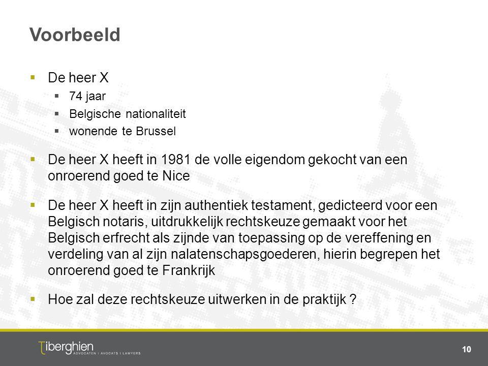 Voorbeeld  De heer X  74 jaar  Belgische nationaliteit  wonende te Brussel  De heer X heeft in 1981 de volle eigendom gekocht van een onroerend g