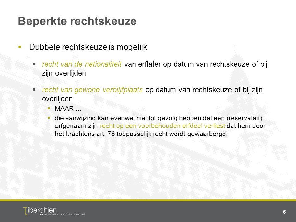 Fiscale implicaties van erfrechtverordening  Overeenkomstig artikel 1 W.