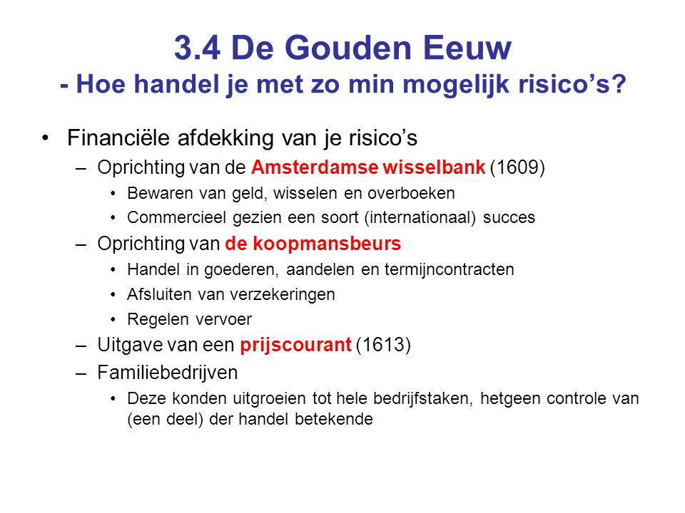 3.4 De Gouden Eeuw - Hoe handel je met zo min mogelijk risico's? Financiële afdekking van je risico's –Oprichting van de Amsterdamse wisselbank (1609)
