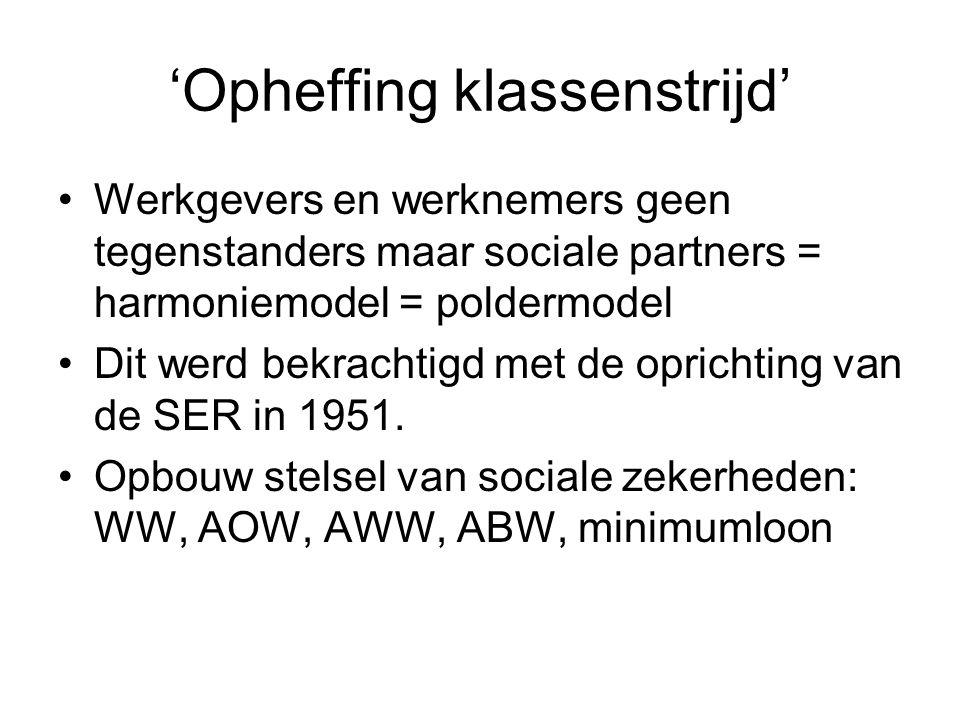 'Opheffing klassenstrijd' Werkgevers en werknemers geen tegenstanders maar sociale partners = harmoniemodel = poldermodel Dit werd bekrachtigd met de oprichting van de SER in 1951.