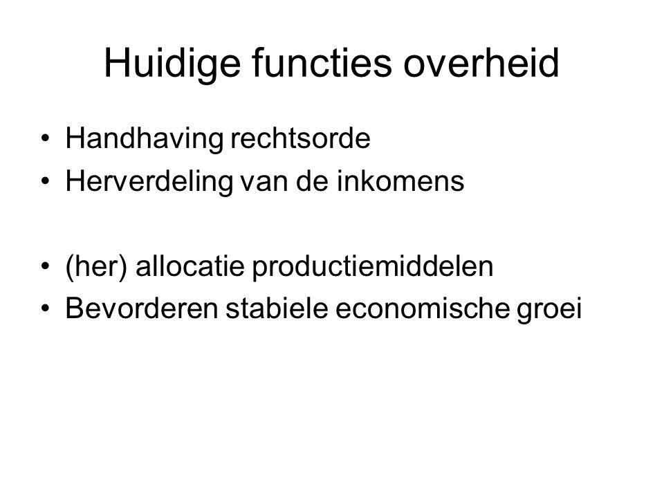 Huidige functies overheid Handhaving rechtsorde Herverdeling van de inkomens (her) allocatie productiemiddelen Bevorderen stabiele economische groei