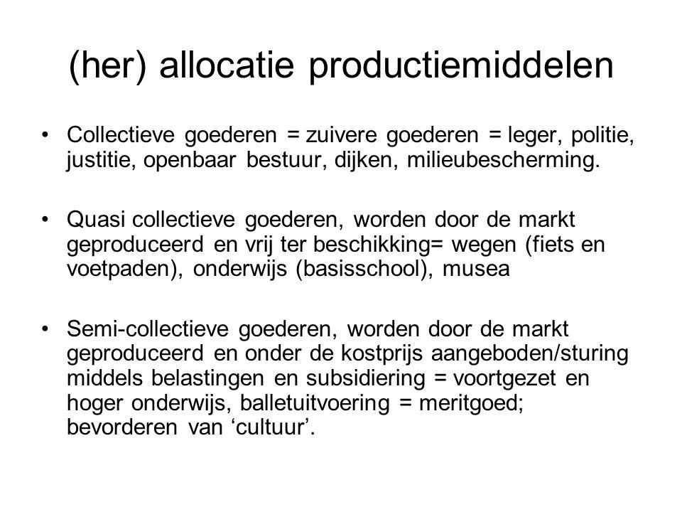(her) allocatie productiemiddelen Collectieve goederen = zuivere goederen = leger, politie, justitie, openbaar bestuur, dijken, milieubescherming.