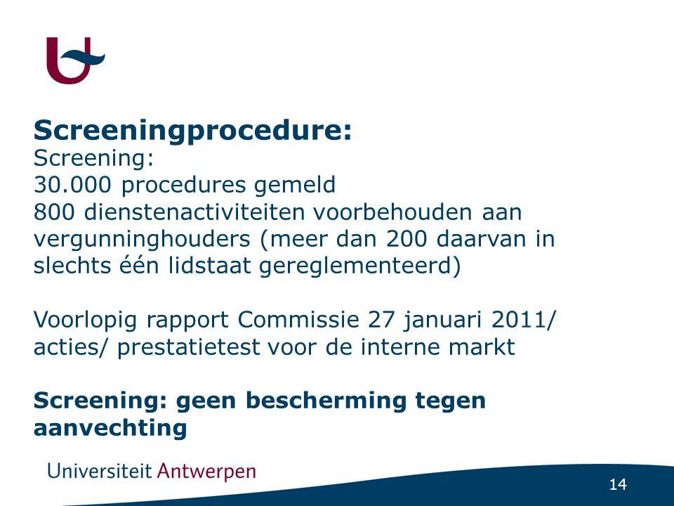 14 Screeningprocedure: Screening: 30.000 procedures gemeld 800 dienstenactiviteiten voorbehouden aan vergunninghouders (meer dan 200 daarvan in slecht