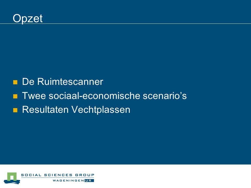 Opzet De Ruimtescanner Twee sociaal-economische scenario's Resultaten Vechtplassen