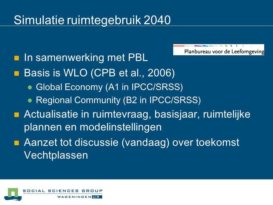 Simulatie ruimtegebruik 2040 In samenwerking met PBL Basis is WLO (CPB et al., 2006) Global Economy (A1 in IPCC/SRSS) Regional Community (B2 in IPCC/S