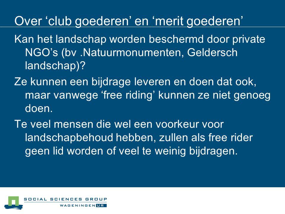 Over 'club goederen' en 'merit goederen' Kan het landschap worden beschermd door private NGO's (bv.Natuurmonumenten, Geldersch landschap)? Ze kunnen e