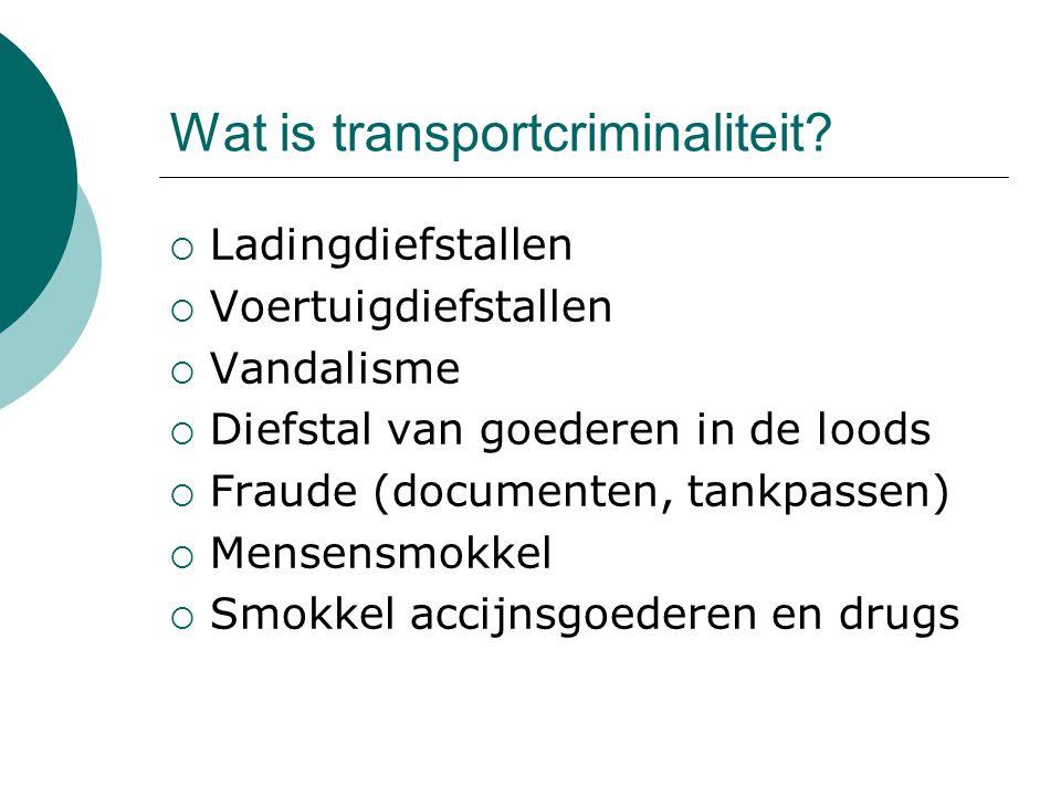 Wat is transportcriminaliteit?  Ladingdiefstallen  Voertuigdiefstallen  Vandalisme  Diefstal van goederen in de loods  Fraude (documenten, tankpa
