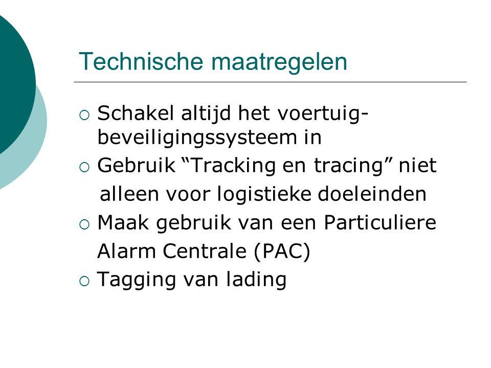 """Technische maatregelen  Schakel altijd het voertuig- beveiligingssysteem in  Gebruik """"Tracking en tracing"""" niet alleen voor logistieke doeleinden """
