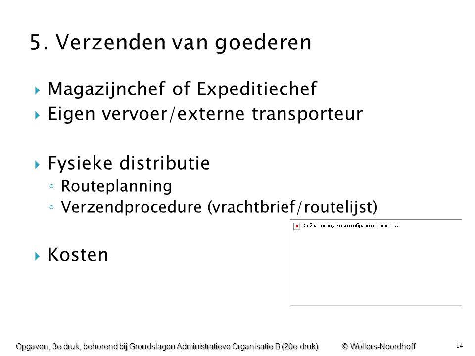 14  Magazijnchef of Expeditiechef  Eigen vervoer/externe transporteur  Fysieke distributie ◦ Routeplanning ◦ Verzendprocedure (vrachtbrief/routelij