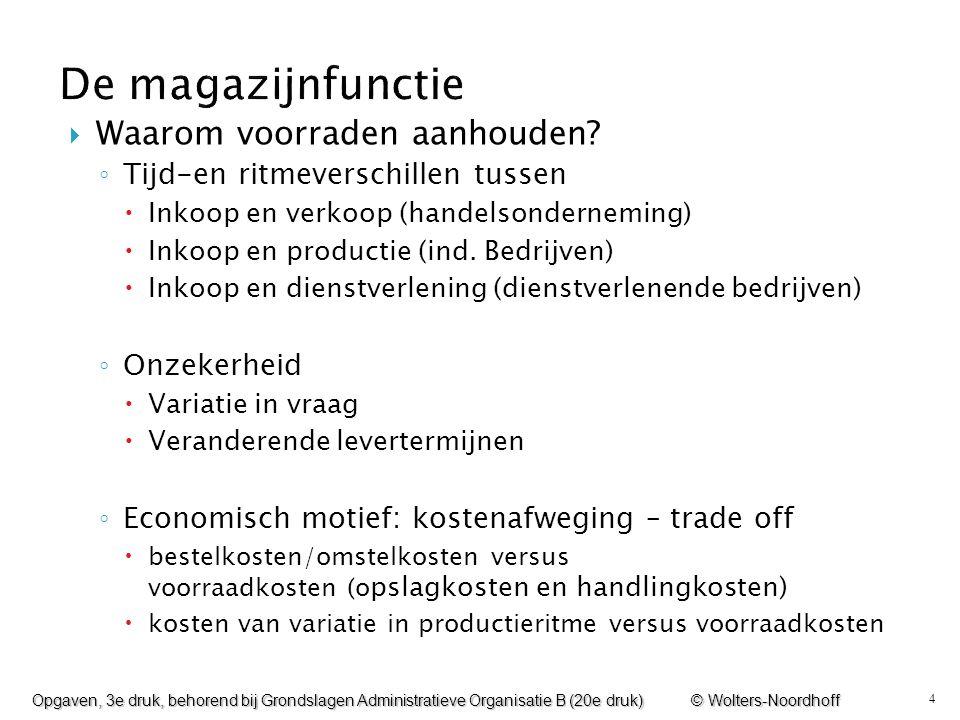 4  Waarom voorraden aanhouden? ◦ Tijd-en ritmeverschillen tussen  Inkoop en verkoop (handelsonderneming)  Inkoop en productie (ind. Bedrijven)  In
