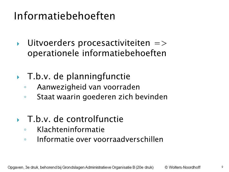 9  Uitvoerders procesactiviteiten => operationele informatiebehoeften  T.b.v. de planningfunctie ◦ Aanwezigheid van voorraden ◦ Staat waarin goedere
