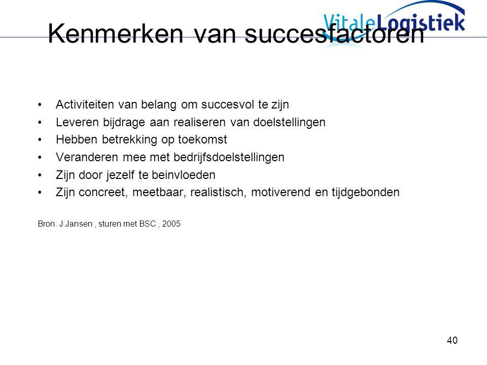 40 Kenmerken van succesfactoren Activiteiten van belang om succesvol te zijn Leveren bijdrage aan realiseren van doelstellingen Hebben betrekking op toekomst Veranderen mee met bedrijfsdoelstellingen Zijn door jezelf te beinvloeden Zijn concreet, meetbaar, realistisch, motiverend en tijdgebonden Bron: J.Jansen, sturen met BSC, 2005