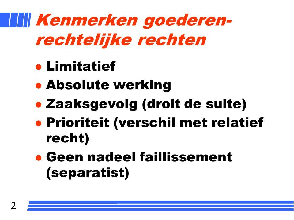 2 Kenmerken goederen- rechtelijke rechten l Limitatief l Absolute werking l Zaaksgevolg (droit de suite) l Prioriteit (verschil met relatief recht) l