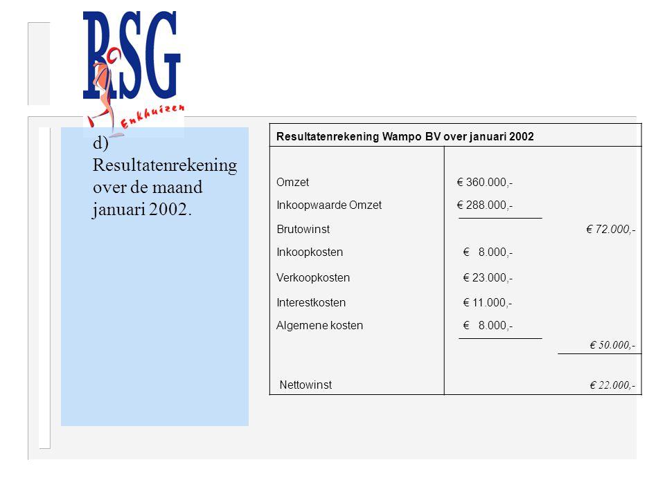 d) Resultatenrekening over de maand januari 2002. Resultatenrekening Wampo BV over januari 2002 Omzet € 360.000,- Inkoopwaarde Omzet € 288.000,- Bruto