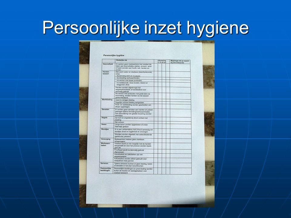 Persoonlijke inzet hygiene