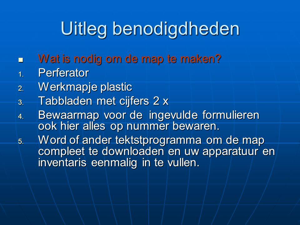 Uitleg benodigdheden Wat is nodig om de map te maken? Wat is nodig om de map te maken?  Perferator  Werkmapje plastic  Tabbladen met cijfers 2 x