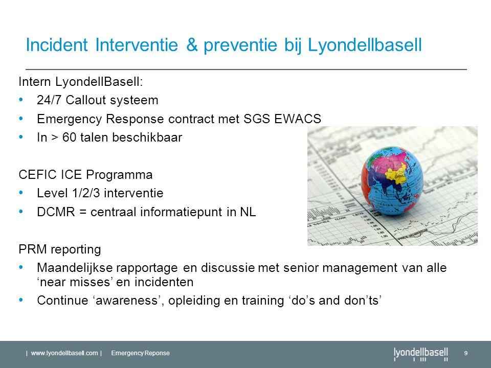| www.lyondellbasell.com | Emergency Reponse 9 Incident Interventie & preventie bij Lyondellbasell Intern LyondellBasell: 24/7 Callout systeem Emergen