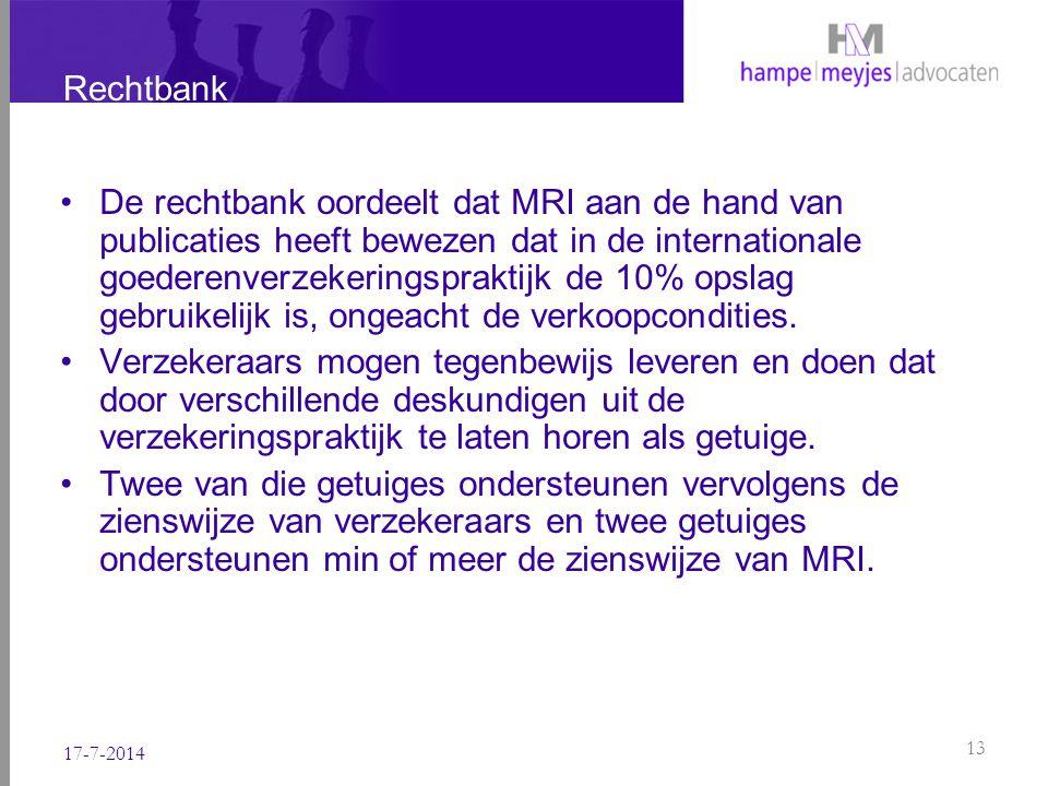 Rechtbank De rechtbank oordeelt dat MRI aan de hand van publicaties heeft bewezen dat in de internationale goederenverzekeringspraktijk de 10% opslag