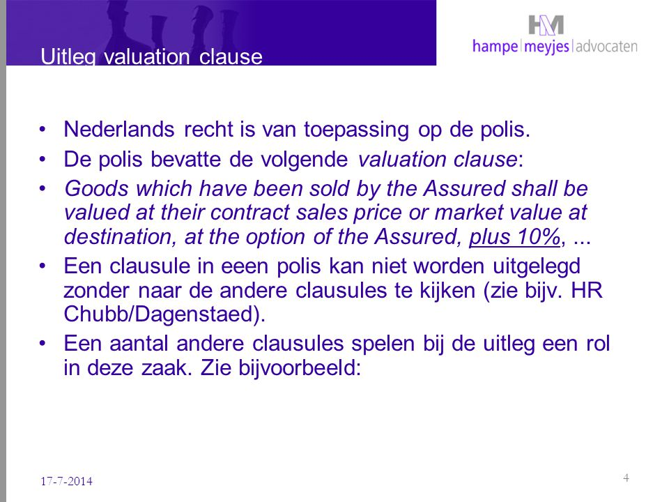Uitleg valuation clause 9.