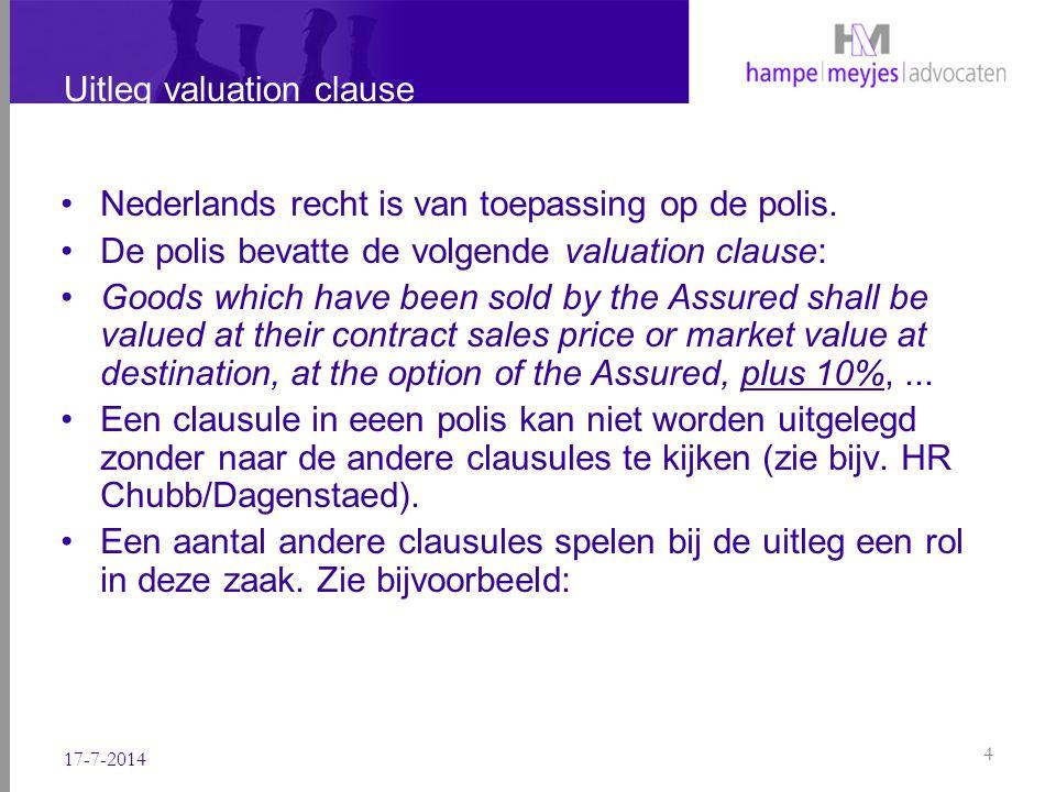 Uitleg valuation clause Nederlands recht is van toepassing op de polis. De polis bevatte de volgende valuation clause: Goods which have been sold by t