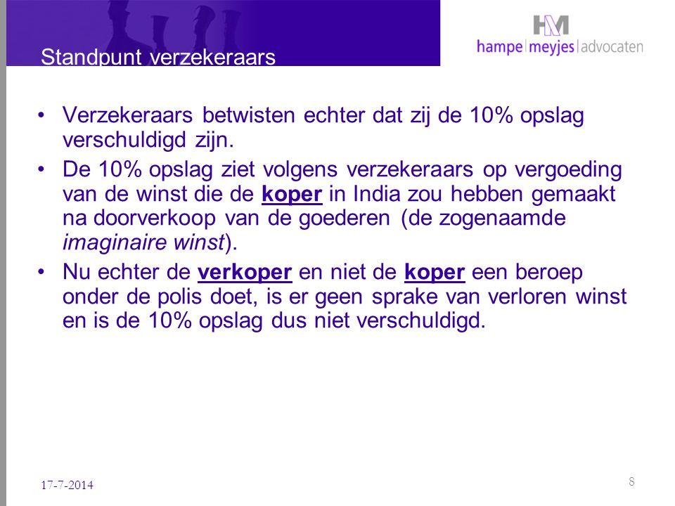 Standpunt verzekeraars Immers, de verkoper heeft de goederen al met winst verkocht aan de koper in India tegen de Verkoopprijs.