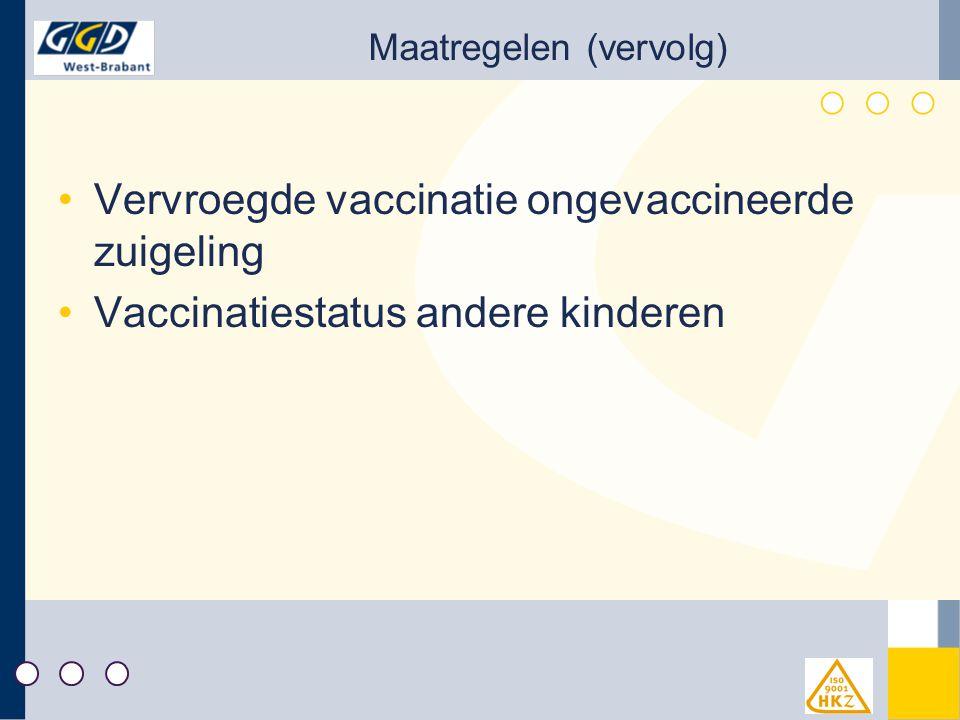 Maatregelen (vervolg) Vervroegde vaccinatie ongevaccineerde zuigeling Vaccinatiestatus andere kinderen