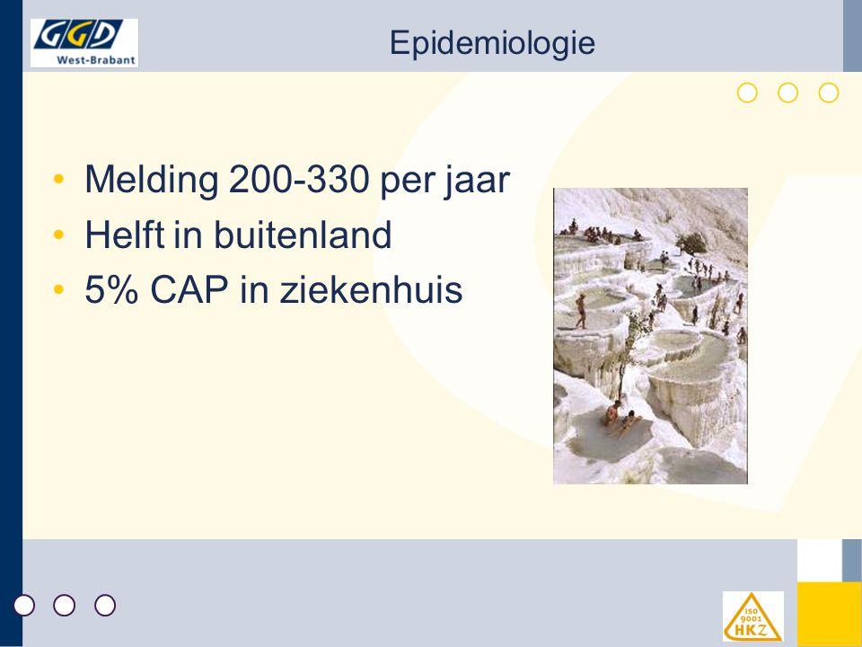Epidemiologie Melding 200-330 per jaar Helft in buitenland 5% CAP in ziekenhuis