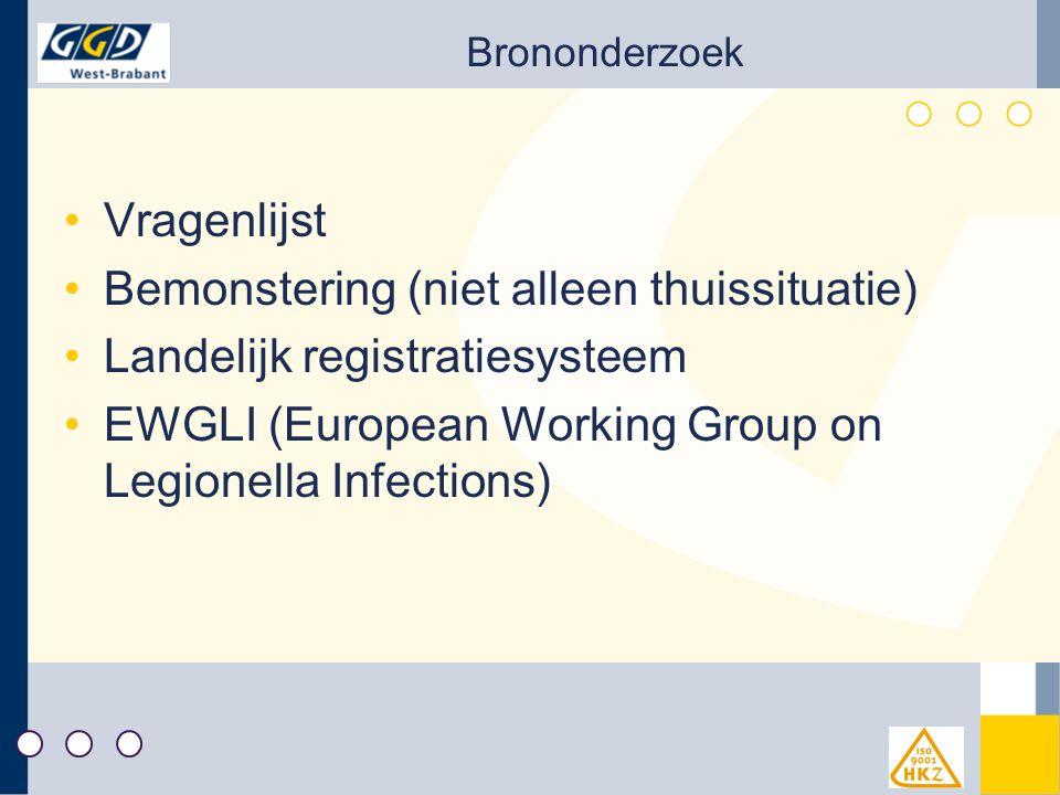 Brononderzoek Vragenlijst Bemonstering (niet alleen thuissituatie) Landelijk registratiesysteem EWGLI (European Working Group on Legionella Infections)