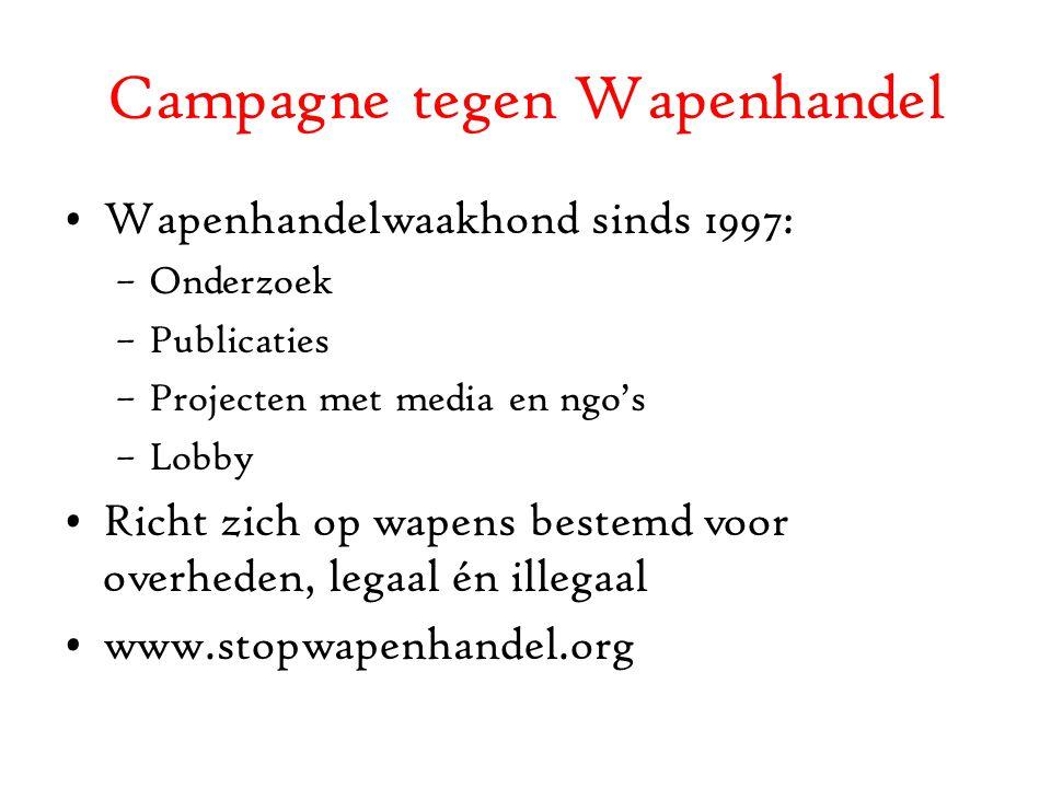 Campagne tegen Wapenhandel Wapenhandelwaakhond sinds 1997: –Onderzoek –Publicaties –Projecten met media en ngo's –Lobby Richt zich op wapens bestemd voor overheden, legaal én illegaal www.stopwapenhandel.org
