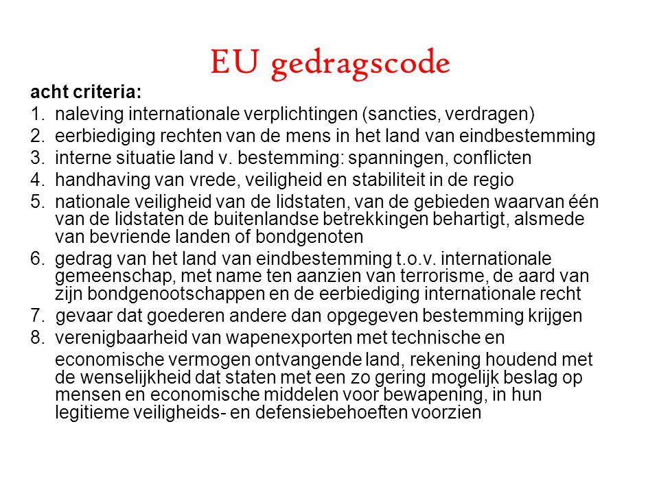 EU gedragscode acht criteria: 1.naleving internationale verplichtingen (sancties, verdragen) 2.eerbiediging rechten van de mens in het land van eindbestemming 3.interne situatie land v.