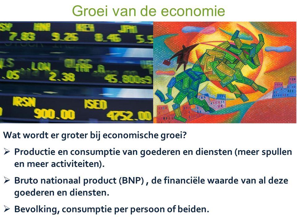 Groei van de economie Wat wordt er groter bij economische groei?  Productie en consumptie van goederen en diensten (meer spullen en meer activiteiten