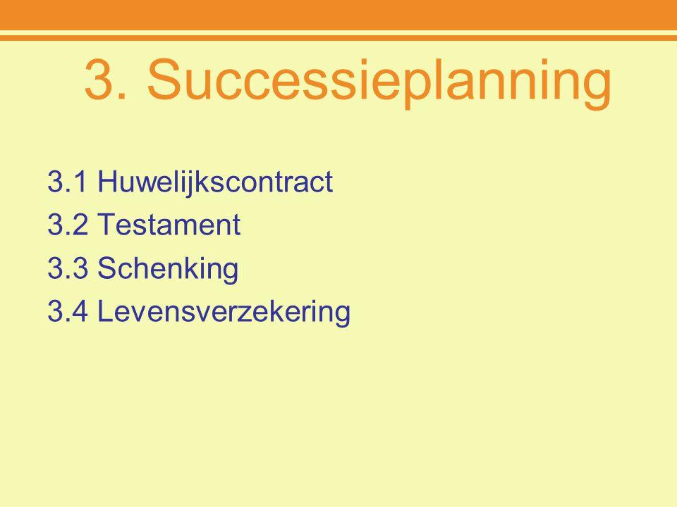 3. Successieplanning 3.1 Huwelijkscontract 3.2 Testament 3.3 Schenking 3.4 Levensverzekering