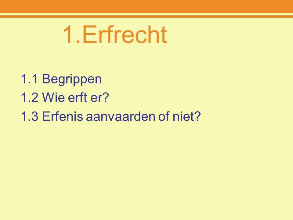 1.Erfrecht 1.1 Begrippen 1.2 Wie erft er? 1.3 Erfenis aanvaarden of niet?
