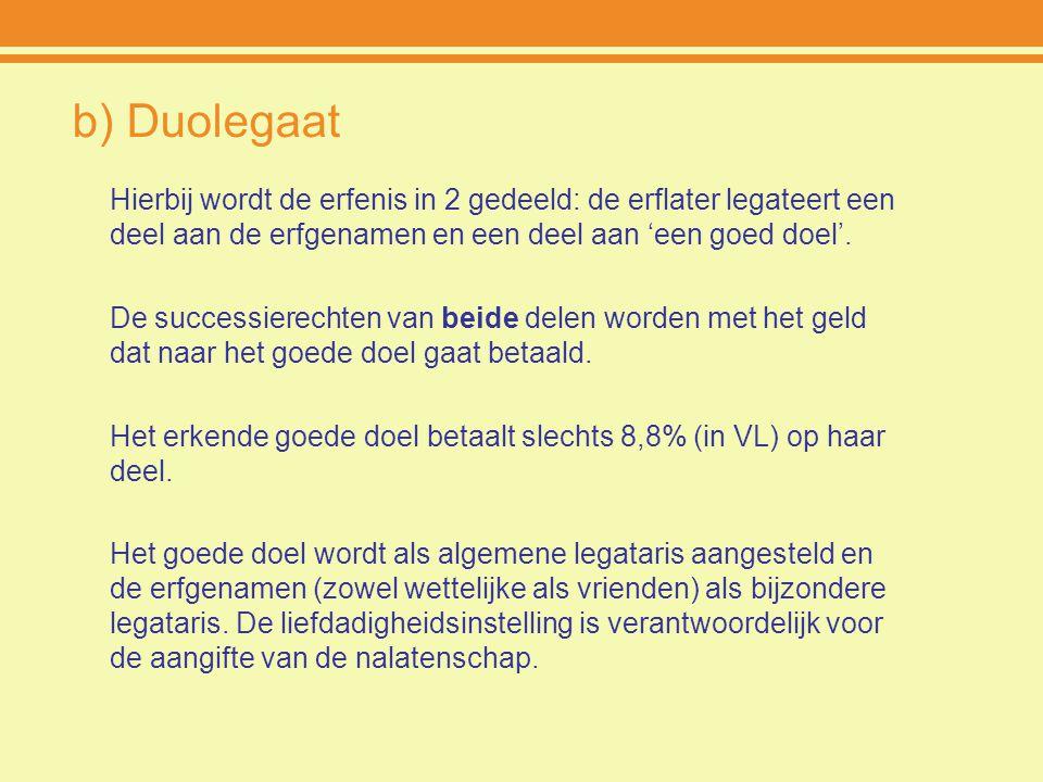 b) Duolegaat Hierbij wordt de erfenis in 2 gedeeld: de erflater legateert een deel aan de erfgenamen en een deel aan 'een goed doel'. De successierech