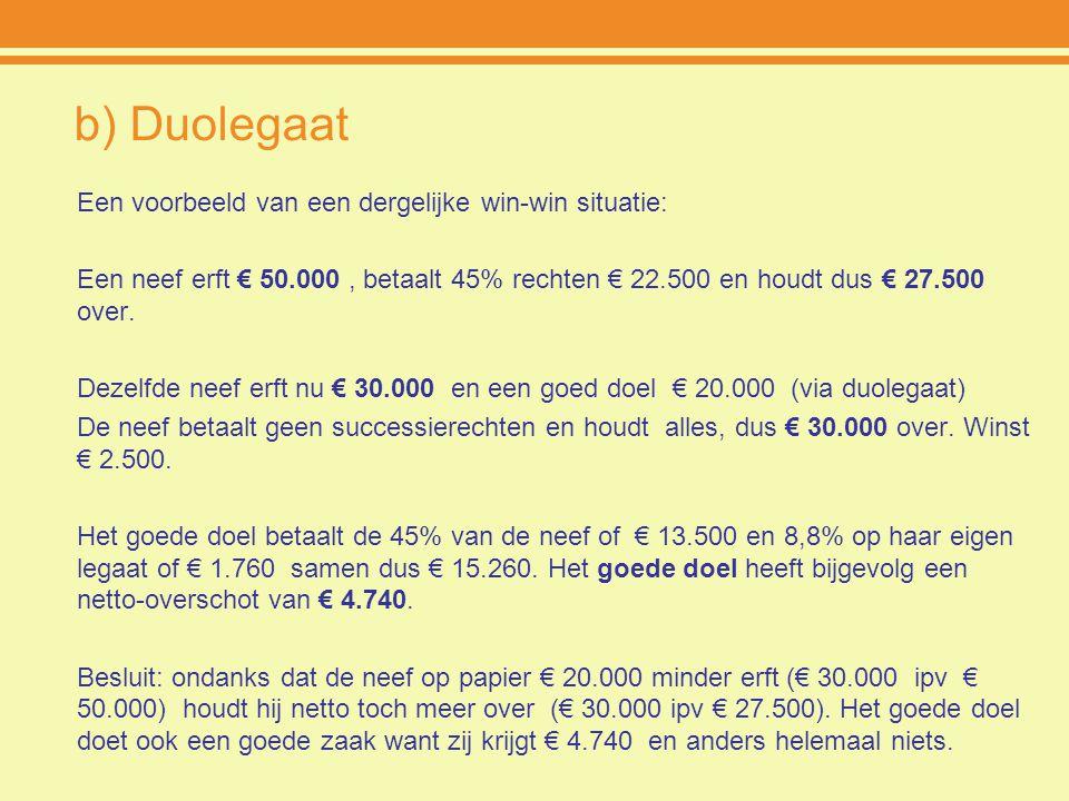 b) Duolegaat Een voorbeeld van een dergelijke win-win situatie: Een neef erft € 50.000, betaalt 45% rechten € 22.500 en houdt dus € 27.500 over. Dezel