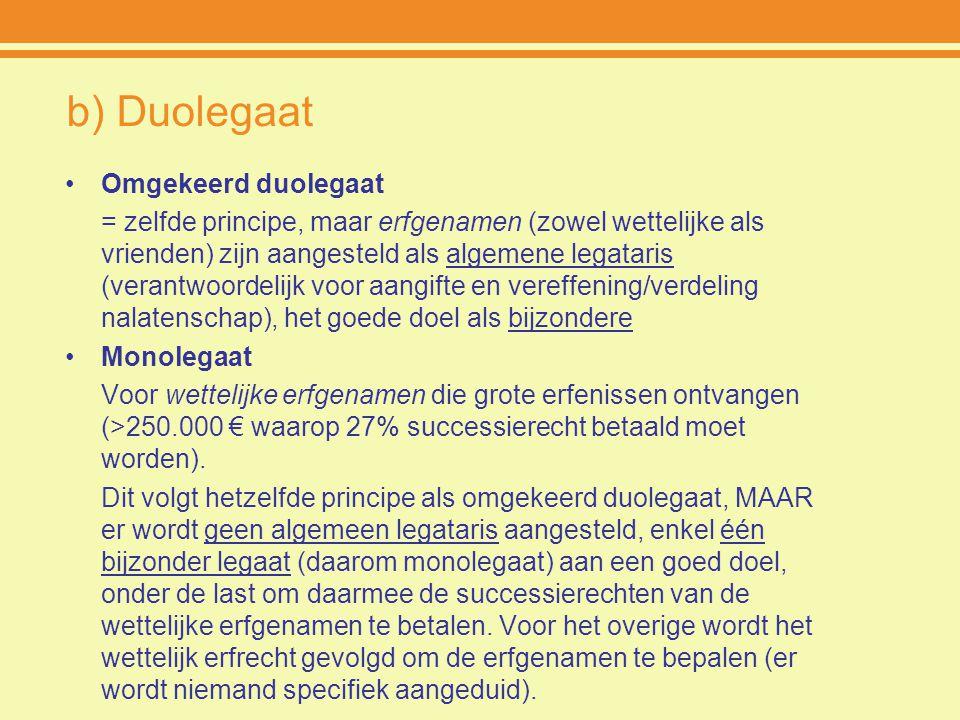b) Duolegaat Omgekeerd duolegaat = zelfde principe, maar erfgenamen (zowel wettelijke als vrienden) zijn aangesteld als algemene legataris (verantwoor