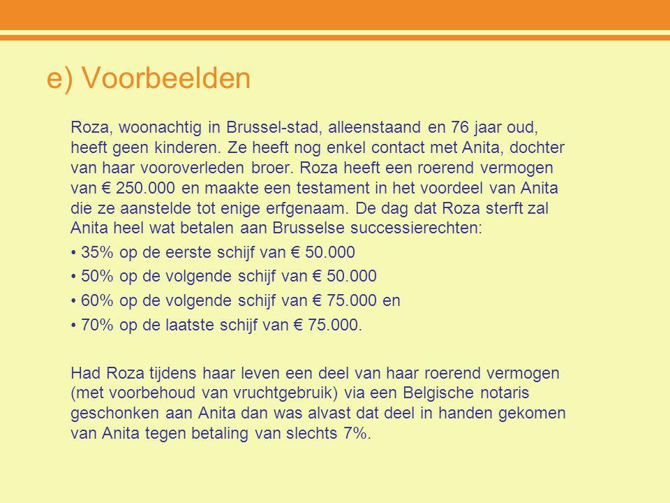 e) Voorbeelden Roza, woonachtig in Brussel-stad, alleenstaand en 76 jaar oud, heeft geen kinderen. Ze heeft nog enkel contact met Anita, dochter van h