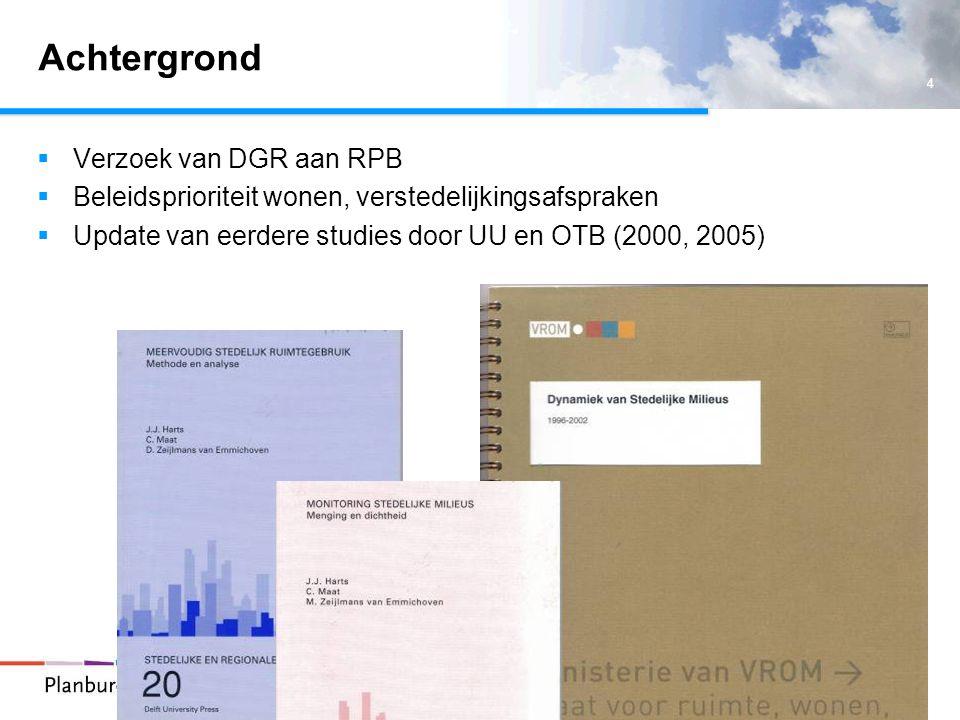 5 Methodiek Data -CBS bodemstatiek (2000, 2003): detailhandel/horeca, openbare voorzieningen, sociaal-culturele voorzieningen, bedrijventerrein, groen– en sportvoorzieningen, infrastructuur, bouw- en overige terreinen -CBS woningregister (2000, 2006): woningdichtheid -Geomarktprofiel (2002, 2006) aandeel hoogbouw -LISA (2000, 2006): banendichtheid -Bak kantorenbestand (2000, 2006): dichtheid kantooroppervlak -Locatus (2003, 2006): dichtheden verkooppunten, verkoopvloeroppervlak dagelijkse en niet-dagelijkse goederen Data vertaald naar 250 x 250 m vierkanten