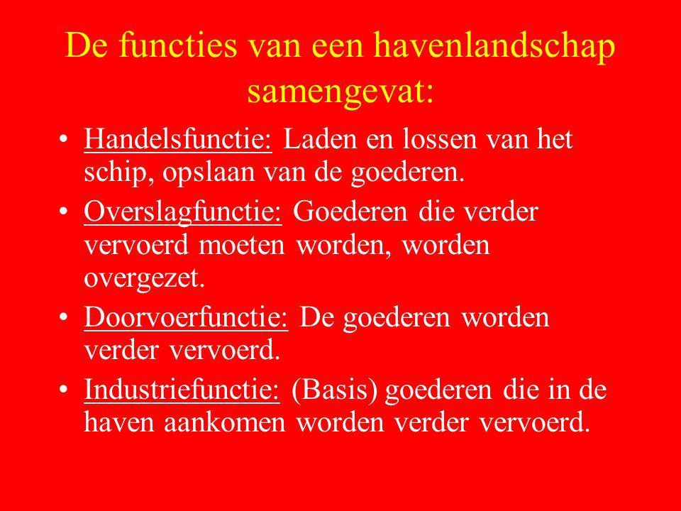 De functies van een havenlandschap samengevat: Handelsfunctie: Laden en lossen van het schip, opslaan van de goederen. Overslagfunctie: Goederen die v