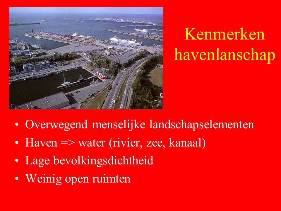 Kenmerken havenlanschap Overwegend menselijke landschapselementen Haven => water (rivier, zee, kanaal) Lage bevolkingsdichtheid Weinig open ruimten