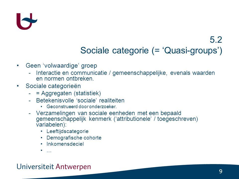 9 5.2 Sociale categorie (= 'Quasi-groups') Geen 'volwaardige' groep -Interactie en communicatie / gemeenschappelijke, evenals waarden en normen ontbre