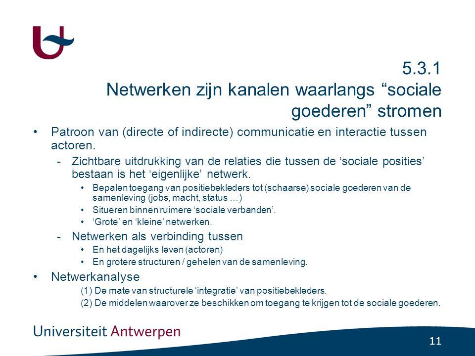 """11 5.3.1 Netwerken zijn kanalen waarlangs """"sociale goederen"""" stromen Patroon van (directe of indirecte) communicatie en interactie tussen actoren. -Zi"""